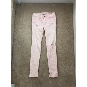 NWOT American Eagle Light Pink Ripped Jeans